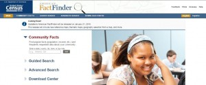 American FactFinder homepage screenshot
