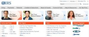 IRS homepage